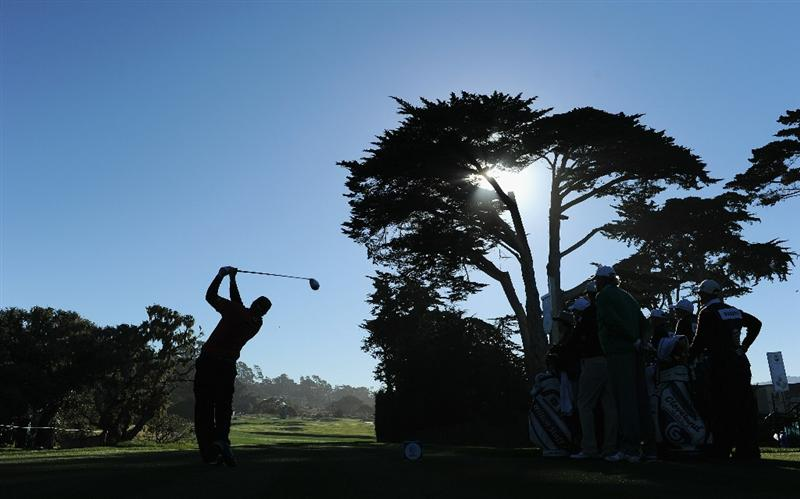 PEBBLE BEACH, CA - FEBRUARY 11:  Steve Marino plays his tee shot on the fifth hole during the second round of the AT&T Pebble Beach National Pro-Am at the Pebble Beach Golf Links on February 11, 2011  in Pebble Beach, California  (Photo by Stuart Franklin/Getty Images)