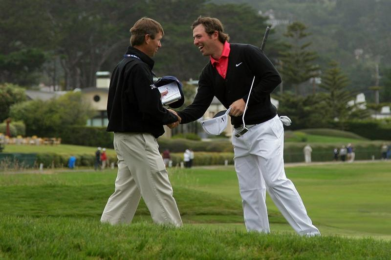 PEBBLE BEACH, CA - JUNE 20:  Pablo Martin of Spain shakes hands with a rules official after finishing his round during the final round of the 110th U.S. Open at Pebble Beach Golf Links on June 20, 2010 in Pebble Beach, California.  (Photo by Donald Miralle/Getty Images)