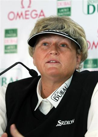 DUBAI, UNITED ARAB EMIRATES - DECEMBER 07:  Laura Davies of England during her media conference before playing in the pro-am as a preview for the 2010 Dubai Ladies Masters on the Majilis Course at The Emirates Golf Club on December 7, 2010 in Dubai, United Arab Emirates.  (Photo by David Cannon/Getty Images)