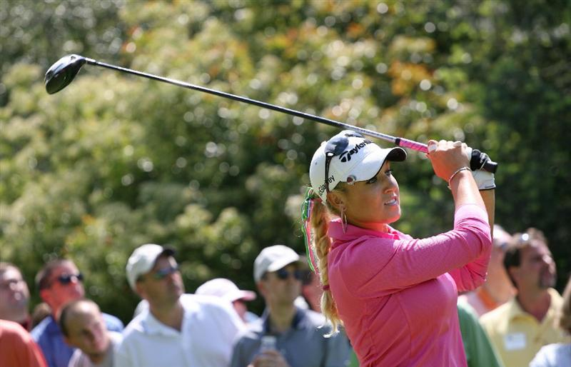 CLIFTON, NJ - MAY 15 : Natalie Gulbis hits her tee shot on the 18th hole during the second round of the Sybase Classic presented by ShopRite at Upper Montclair Country Club on May 15, 2009 in Clifton, New Jersey. (Photo by Hunter Martin/Getty Images)