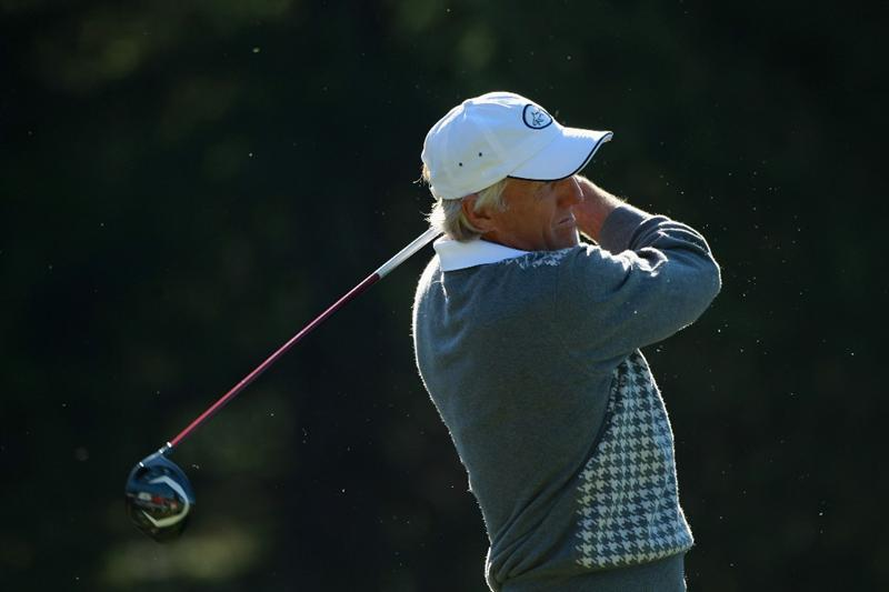 CRANS, SWITZERLAND - SEPTEMBER 03:  Greg Norman of Australia tees off on the 14th hole during the second round of The Omega European Masters at Crans-Sur-Sierre Golf Club on September 3, 2010 in Crans Montana, Switzerland.  (Photo by Warren Little/Getty Images)