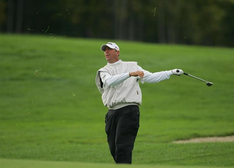 VERNON, NY - OCTOBER 02: Patrick Sheehan plays a shot from the rough during the first round of the Turning Stone Resort Championship at Atunyote Golf Club held on October 2, 2008 in Vernon, New York. (Photo by Michael Cohen/Getty Images)