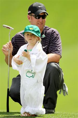 AUGUSTA, GA - APRIL 07:  David Duval waits with his daughter Sienna during the Par 3 Contest prior to the 2010 Masters Tournament at Augusta National Golf Club on April 7, 2010 in Augusta, Georgia.  (Photo by Jamie Squire/Getty Images)