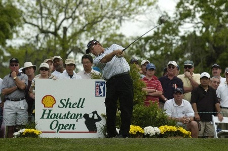 Gavin Coles tees off the 18th  during the third  round of the Shell Houston Open, Saturday , April 23, 2005 at the Redstone Golf Club, Humbele, TexasPhoto by Marc Feldman/WireImage.com