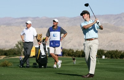 Actor Chris O'Donnell makes a tee shot on the second hole as Justin Leonard and his caddie look on during the fourth round of the 49th Bob Hope Chrysler Classic on January 19, 2008 at the Classic Club in Palm Desert, California. PGA TOUR - 2008 Bob Hope Chrysler Classic - Round FourPhoto by Robert Laberge/Getty Images