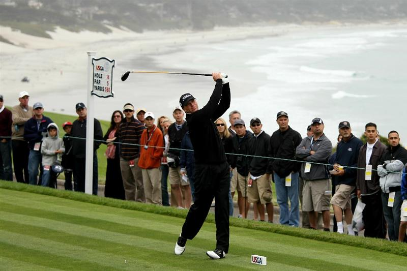 PEBBLE BEACH, CA - JUNE 18:  Steve Stricker hits his tee shot on the 14th hole during the second round of the 110th U.S. Open at Pebble Beach Golf Links on June 18, 2010 in Pebble Beach, California.  (Photo by Ross Kinnaird/Getty Images)