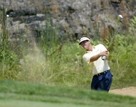 Dan Olsen chips onto the eighth green during the final round of the National Mining Association Pete Dye Classic, Pete Dye Golf Club, Bridgeport, West Virginia, July 10th, 2005Photo by Hunter Martin/WireImage.com