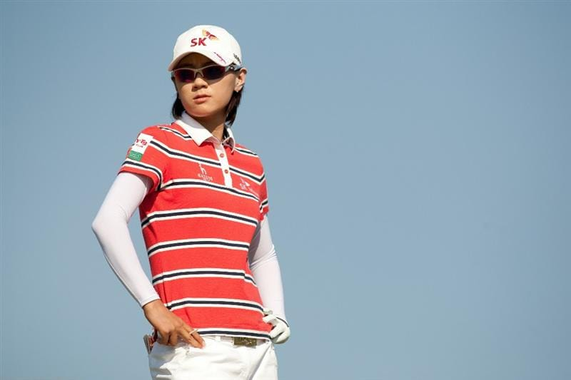 PRATTVILLE, AL - OCTOBER 10: Na Yeon Choi of South Korea waits on teh 13th tee during the final round of the Navistar LPGA Classic at the Senator Course at the Robert Trent Jones Golf Trail on October 10, 2010 in Prattville, Alabama. (Photo by Darren Carroll/Getty Images)