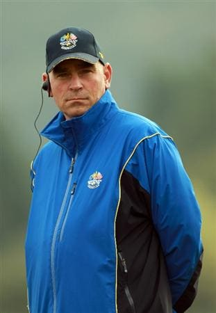 NEWPORT, WALES - SEPTEMBER 30:  Vice captain Thomas Bjorn of Europe waits on a tee box during a practice round prior to the 2010 Ryder Cup at the Celtic Manor Resort on September 30, 2010 in Newport, Wales.  (Photo by Andrew Redington/Getty Images)