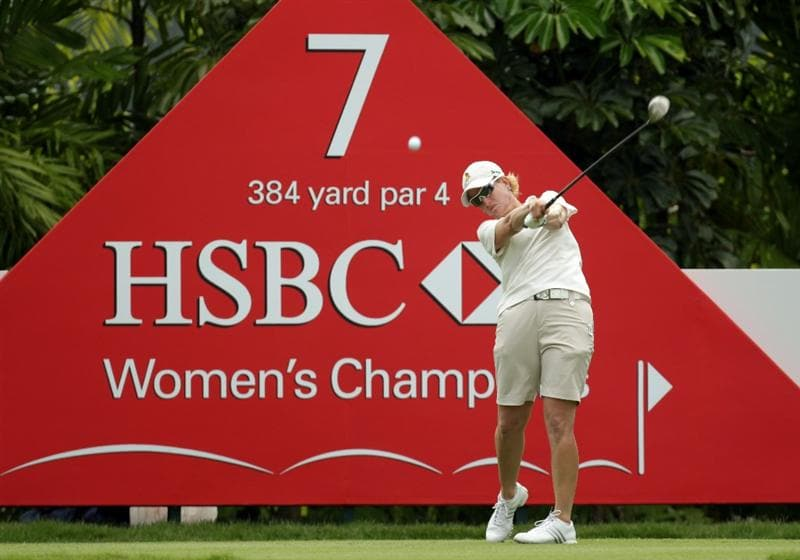 SINGAPORE - FEBRUARY 25:  Karrie Webb of Australia during the second round of the HSBC Women's Champions at Tanah Merah Country Club  on February 25, 2011 in Singapore, Singapore.  (Photo by Ross Kinnaird/Getty Images)