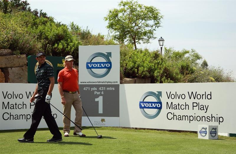 CASARES, SPAIN - MAY 19:  Charl Schwartzel of South Africa (left) and Miguel Angel Jimenez of Spain in action during the group stages of the Volvo World Match Play Championship at Finca Cortesin on May 19, 2011 in Casares, Spain.  (Photo by Andrew Redington/Getty Images)