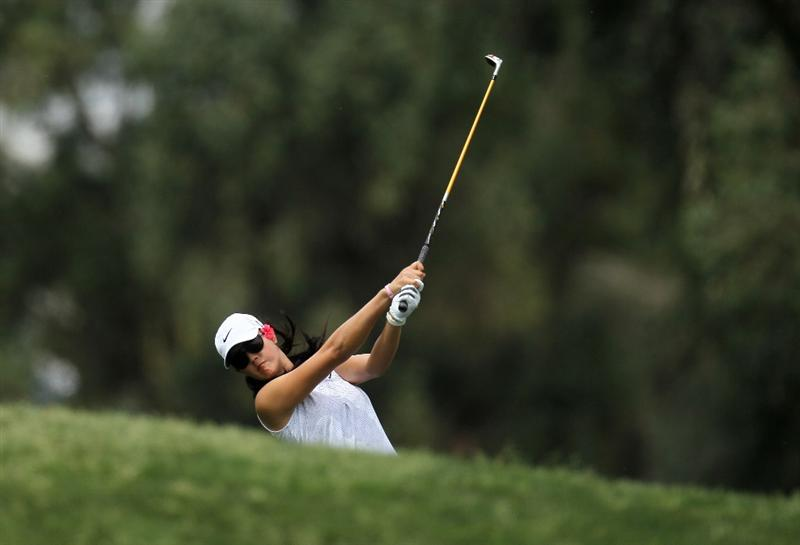 RANCHO MIRAGE, CA - APRIL 02:  Michelle Wie hits her second shot on the second hole during the third round of the Kraft Nabisco Championship at Mission Hills Country Club on April 2, 2011 in Rancho Mirage, California.  (Photo by Stephen Dunn/Getty Images)