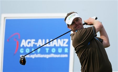 PLENEUF-VAL-ANDRE, FRANCE - APRIL 26:  Joakim Haeggman of Sweden tees off on the 17th hole during the final round of the AGF-Allianz Open Cotes d'Armour Bretagne at Golf Blue-Green Pleneuf-Val Andre on April 26, 2008 in Pleneuf-Val Andre, France.  (Photo by Warren Little/Getty Images)