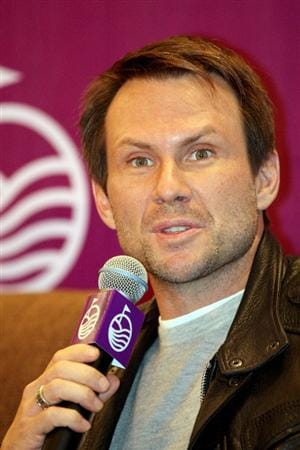 HAIKOU, CHINA - OCTOBER 27: Actor Christian Slater answers a question during the openingpress conference of the Mission Hills Star Trophy on October 27, 2010 in Haikou, China. The Mission Hills Star Trophy is Asia's leading leisure liflestyle event and features Hollywood celebrities and international golf stars.  (Photo by Athit Perawongmetha/Getty Images)