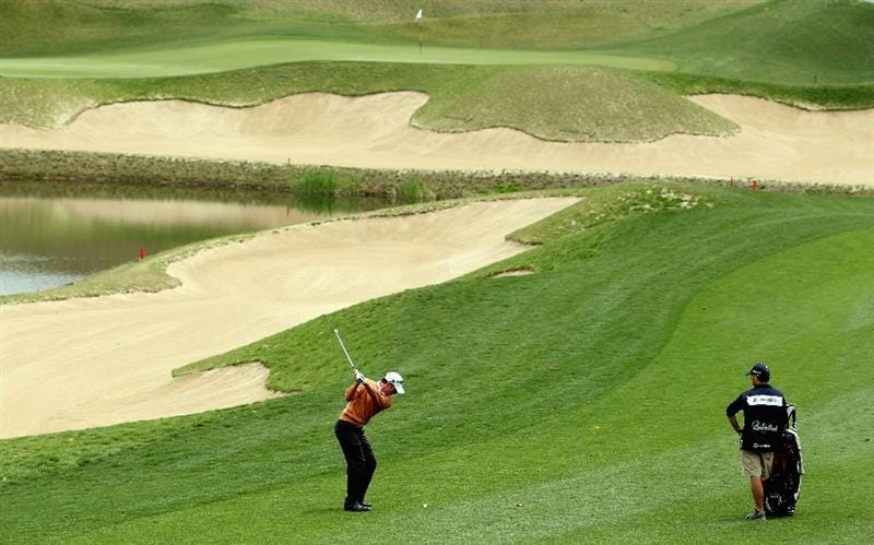ICHEON, SOUTH KOREA - APRIL 29:  Brett Rumford of Australia hits his second shot on the eighth hole during the second round of the Ballantine's Championship at Blackstone Golf Club on April 29, 2011 in Icheon, South Korea.  (Photo by Andrew Redington/Getty Images)