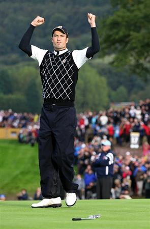 NEWPORT, WALES - OCTOBER 03:  Ross Fisher of Europe celebrates winning his match on the 17th green during the  Fourball & Foursome Matches during the 2010 Ryder Cup at the Celtic Manor Resort on October 3, 2010 in Newport, Wales.  (Photo by Jamie Squire/Getty Images)