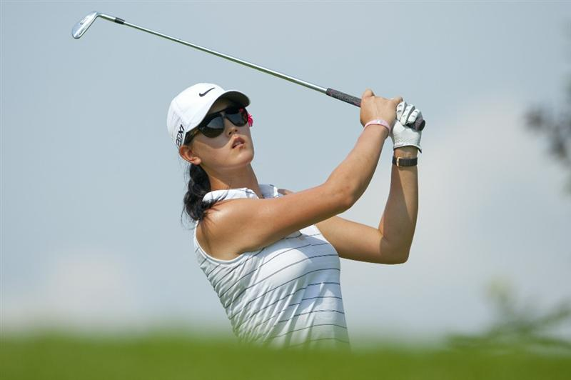 CHON BURI, THAILAND - FEBRUARY 19:  Michelle Wie of USA tees off on the 13th hole during day three of the LPGA Thailand at Siam Country Club on February 19, 2011 in Chon Buri, Thailand.  (Photo by Victor Fraile/Getty Images)