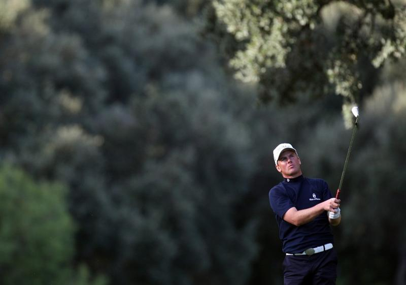SOTOGRANDE, SPAIN - OCTOBER 30:  Robert Karlsson of Sweden on the 18th hole during the first round of the Volvo Masters at the Valderrama Golf Club on October 30, 2008 in Sotogrande, Spain.  (Photo by Ross Kinnaird/Getty Images)