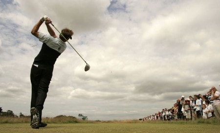 Scott Drummond tee's off on the 4th hole during practice for the 2005 Open Golf Championship at St Andrews,Scotland on July 13, 2005Photo by Pete Fontaine/WireImage.com