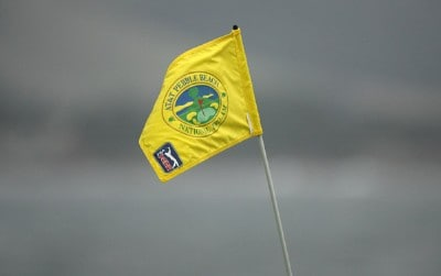 The flag pin on the 18th green during the 3M Celebrity Challenge at Pebble Beach Golf Links on Wednesday, February 7th in Pebble Beach, California. Photo by Hunter Martin/WireImage.com