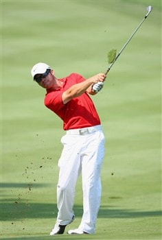 AKRON, OH - JULY 29:  Paul Casey of England plays an approach shot during practice for the World Golf Championship Bridgestone Invitational at Firestone Country Club July 29, 2008 in Akron, Ohio.  (Photo by Stuart Franklin/Getty Images)