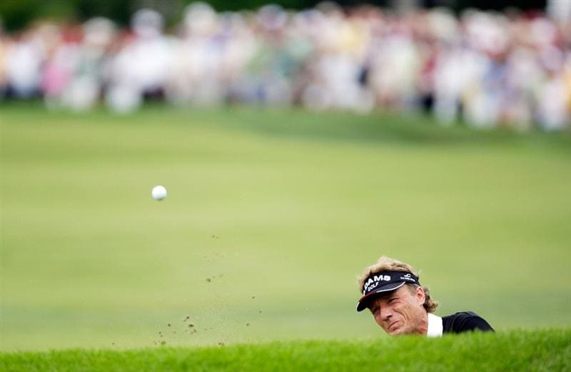 CARMEL, IN - JULY 30:  Bernhard Langer of Germany hits his third shot on the 18th hole from a bunker during the first round of the 2009 U.S. Senior Open at Crooked Stick Golf Club on July 30, 2009 in Carmel, Indiana. (Photo by Jamie Squire/Getty Images)