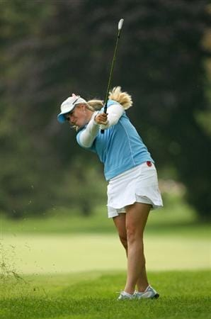 CLIFTON, NJ - MAY 16 : Brittany Lincicome hits her second shot on the 9th hole during the third round of the Sybase Classic presented by ShopRite at Upper Montclair Country Club on May 16, 2009 in Clifton, New Jersey. (Photo by Hunter Martin/Getty Images)