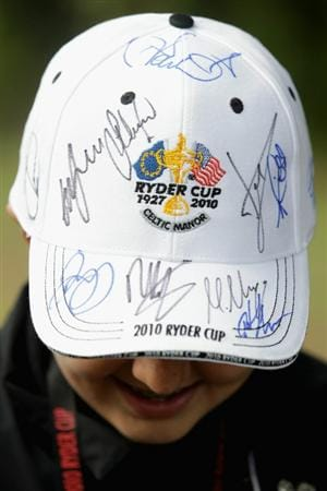 NEWPORT, WALES - SEPTEMBER 30:  General detail of a fan's autographed cap during a practice round prior to the 2010 Ryder Cup at the Celtic Manor Resort on September 30, 2010 in Newport, Wales. (Photo by Andrew Redington/Getty Images)