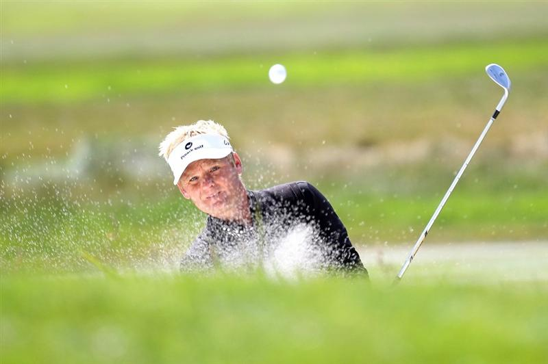 PEBBLE BEACH, CA - JUNE 19:  Soren Kjeldsen of Denmark plays a bunker shot on the second hole during the third round of the 110th U.S. Open at Pebble Beach Golf Links on June 19, 2010 in Pebble Beach, California.  (Photo by Ross Kinnaird/Getty Images)