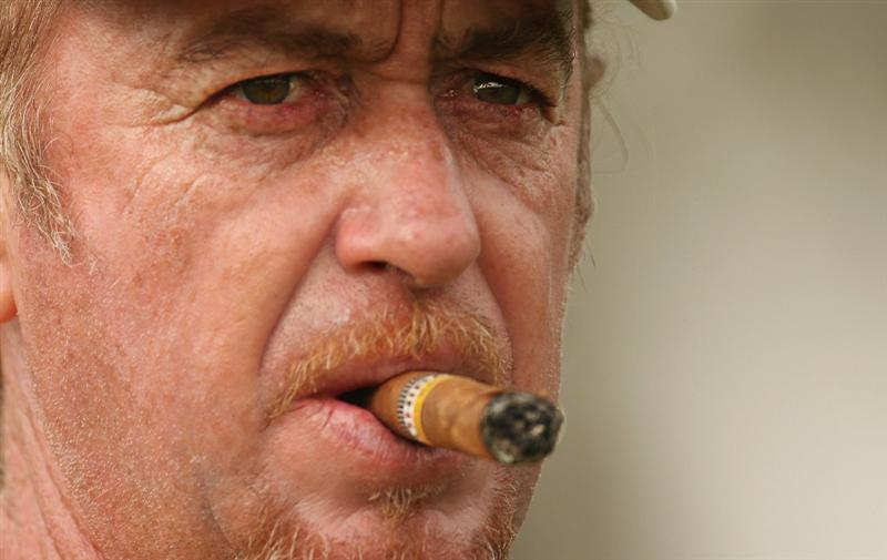 DUBAI, UNITED ARAB EMIRATES - FEBRUARY 9:  Miguel Angel Jimenez of Spain looks on during the pro-am for the 2011 Omega Dubai desert Classic held on the Majilis Course at the Emirates Golf Club on February 9, 2011 in Dubai, United Arab Emirates.  (Photo by Ian Walton/Getty Images)