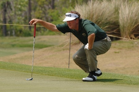 Bob Gilder lines up a putt on the fourth  hole during the opening round of the 2005 Blue Angels Class  May 13 in Milton, Fl.Photo by Al Messerschmidt/WireImage.com