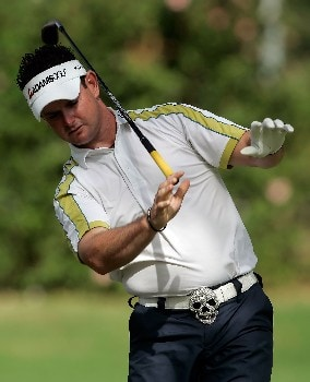 HONOLULU - JANUARY 13:  Rory Sabbatini of South Africa hits an errant tee shot on the eigth hole during the final round of the Sony Open at the Waialae Country Club on January 13, 2008 in Honolulu, Oahu, Hawaii.  (Photo by Jeff Gross/Getty Images)