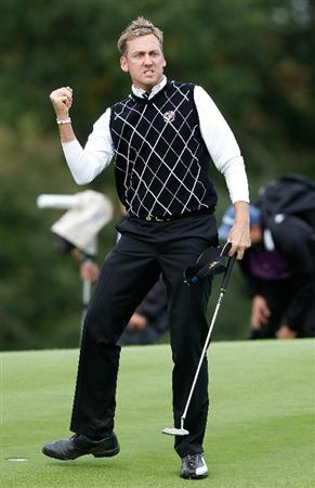 NEWPORT, WALES - OCTOBER 02:  Ian Poulter of Europe celebrates on the 17th green during the rescheduled Afternoon Foursome Matches during the 2010 Ryder Cup at the Celtic Manor Resort on October 2, 2010 in Newport, Wales. (Photo by Sam Greenwood/Getty Images)