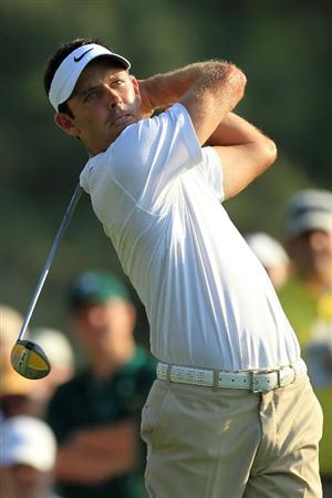 AUGUSTA, GA - APRIL 09:  Charl Schwartzel of South Africa hits a tee shot on the 18th hole during the third round of the 2011 Masters Tournament at Augusta National Golf Club on April 9, 2011 in Augusta, Georgia.  (Photo by David Cannon/Getty Images)