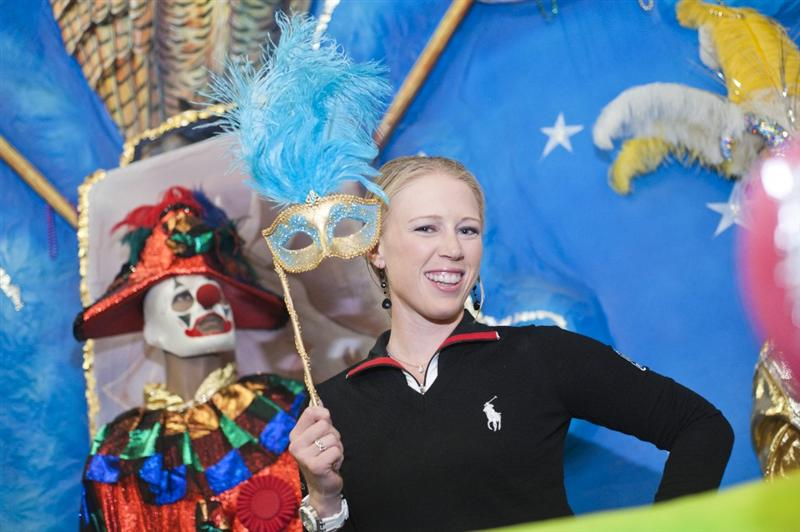 MOBILE, AL - APRIL 26: In this handout from the LPGA Morgan Pressel for Avnet visits the Mobile Carnival Museum on April 26, 2011 in Mobile, Alabama. (Photo by Tad Denson/LPGA via Getty Images)