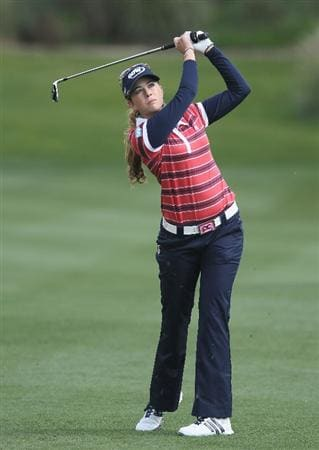 CITY OF INDUSTRY, CA - MARCH 24:  Paula Creamer watches her approach shot on the 11th hole during the first round of the Kia Classic on March 24, 2011 at the Industry Hills Golf Club in the City of Industry, California.  (Photo by Scott Halleran/Getty Images)