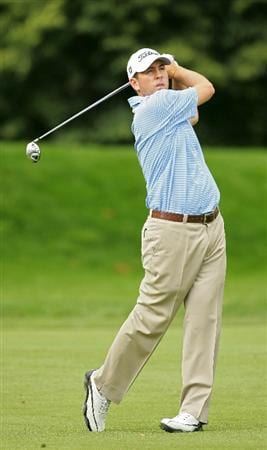 CROMWELL, CT - JUNE 25:   Ben Curtis hits a shot from the fairway during the second round of the Travelers Championship held at TPC River Highlands on June 25, 2010 in Cromwell, Connecticut.  (Photo by Michael Cohen/Getty Images)