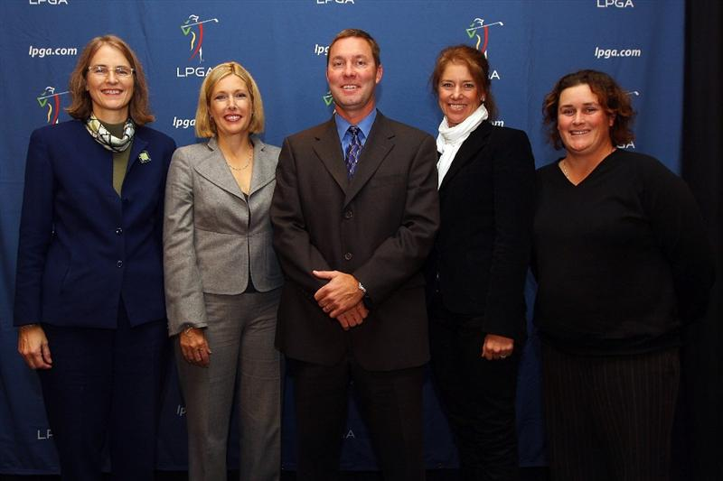 NEW YORK - OCTOBER 28:  (L-R) Leslie Greis, Dawn Hudson, Michael Whan, Helen Alfredsson and Michelle Ellis pose for a photo during a press conference to announce Whan as the new LPGA Commissioner on October 28, 2009 in Club Bar & Grill at Madison Square Garden in New York, New York. (Photo by Mike Stobe/Getty Images for the LPGA)