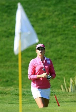 HUIXQUILUCAN, MEXICO - MARCH 22:  Paula Creamer of the USA watches her pitch shot to the tenth green during the final round of the MasterCard Classic at the BosqueReal Country Club on March 22, 2009 in Huixquiucan, Mexico.  (Photo by Scott Halleran/Getty Images)