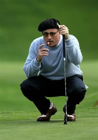 PEBBLE BEACH, CA - FEBRUARY 12:  Actor Andy Garcia lines up his putt on the 14th hole during the second round of the AT&T Pebble Beach National Pro-Am at Spyglass Hill Golf Course on February 12 2010 in Pebble Beach, California.  (Photo by Stephen Dunn/Getty Images)
