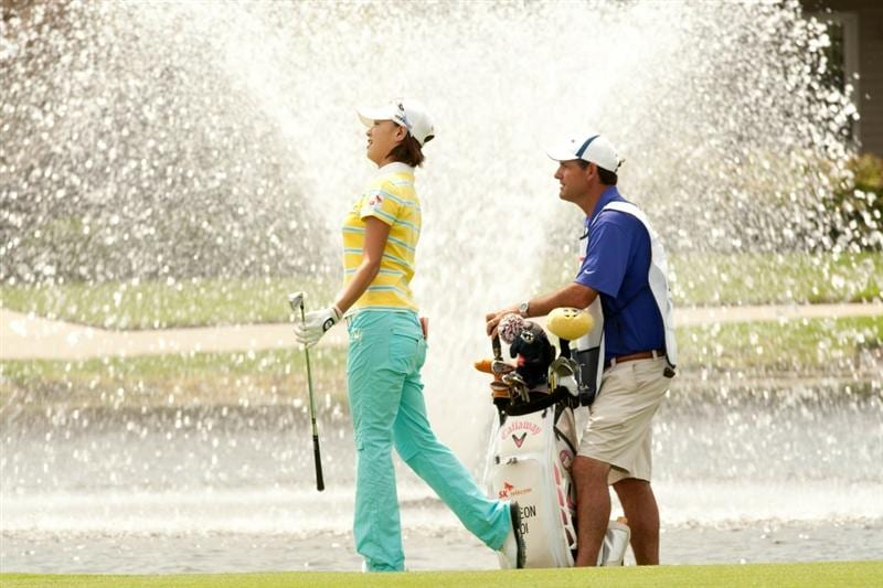SPRINGFIELD, IL - JUNE 11: Na Yeon Choi of South Korea  watches an approach shot during the second round of the LPGA State Farm Classic at Panther Creek Country Club on June 11, 2010 in Springfield, Illinois. (Photo by Darren Carroll/Getty Images)
