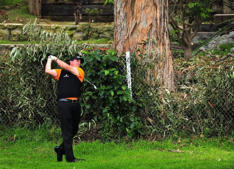 PACIFIC PALISADES, CA - FEBRUARY 21:  Phil Mickelson of USA plays his approach shot on the 12th hole during the third round of the Northern Trust Open at the Riviera Country Club February 21, 2009 in Pacific Palisades, California.  (Photo by Stuart Franklin/Getty Images)