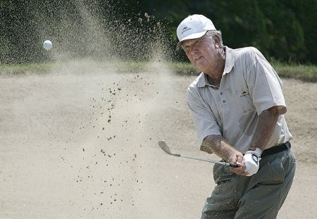 Al Geiberger, Palm Desert, California,  works out of trouble on the 11  during the final round of the 2005 Bank of America Championship at Nashawtuc Country Club in Concord, Massachusetts, Sunday, June 26, 2005.  Mark McNulty of Orlando, Florida, won the match with a score of 12-under-par 204 after defeating Tom Purtzer during a two-hole playoff competition .Photo by Jim Rogash/WireImage.com