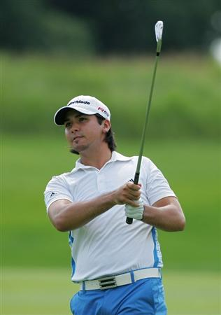 SILVIS, IL - JULY 12:  Jason Day of Australia watches his shot on the 10th hole during the third round of the John Deere Classic at TPC Deere Run held on July 12, 2009 in Silvis, Illinois.  (Photo by Michael Cohen/Getty Images)