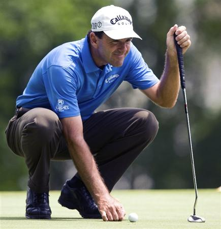 RALEIGH, NC - MAY 29: Len Mattiace lines up a putt on the 17th hole during the second round of the Rex Hospital Open Nationwide Tour golf tournament at the TPC Wakefield Plantation on May 29, 2009 in Raleigh, North Carolina. (Photo by Chris Keane/Getty Images)