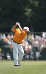 SILVIS, IL - JULY 14:  Billy Mayfair hits his approach shot into the 9th hole during the third round of The John Deere Classic at the TPC Deere Run on July 14, 2007 in Silvis, Illinois.   (Photo by Marc Feldman/WireImage) *** Local Caption *** Billy Mayfair PGA TOUR - 2007 John Deere Classic - Third RoundPhoto by Marc Feldman/WireImage) *** Local Caption *** Billy Mayfair