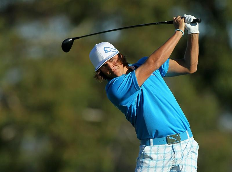 LA JOLLA, CA - JANUARY 28:  Rickie Fowler hits his tee shot on the second hole during round two of the Farmers Insurance Open at Torrey Pines South Course on January 28, 2011 in La Jolla, California.  (Photo by Stephen Dunn/Getty Images)