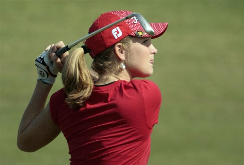 PRATTVILLE, AL - SEPTEMBER 26:  Anna Grzebien hits her approach shot to the 1st green during second round play in the Navistar LPGA Classic at the Robert Trent Jones Golf Trail at Capitol Hill on September 26, 2008 in Prattville, Alabama.  (Photo by Dave Martin/Getty Images)