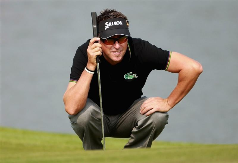 SHANGHAI, CHINA - NOVEMBER 06:  Robert Allenby of Australia lines up a putt on the second hole during the third round of the WGC-HSBC Champions at Sheshan International Golf Club on November 6, 2010 in Shanghai, China.  (Photo by Andrew Redington/Getty Images)