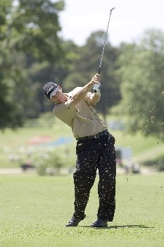 Jason Schultz hits a shot on number 18 during the third round of the Rheem Classic at Hardscrabble Country Club in Fort Smith, AR, May 14, 2005. Schultz finished one shot off the lead at minus-9.Photo by Wesley Hitt/WireImage.com